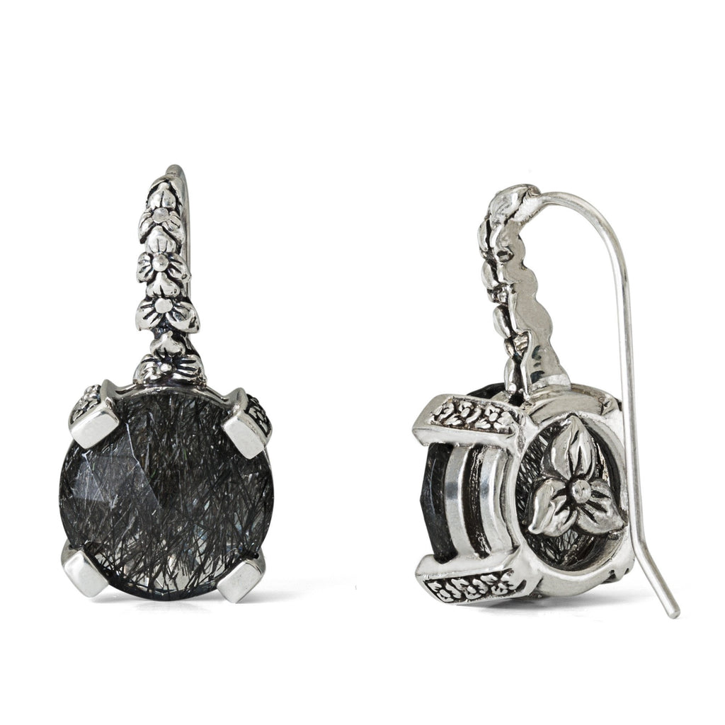 EAR-7263: Black Rutilated Quartz Hook Earring