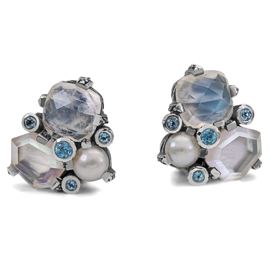 EAR-7714: Rainbow Moonstone, Pearl and Swiss Blue Topaz Cluster Earring