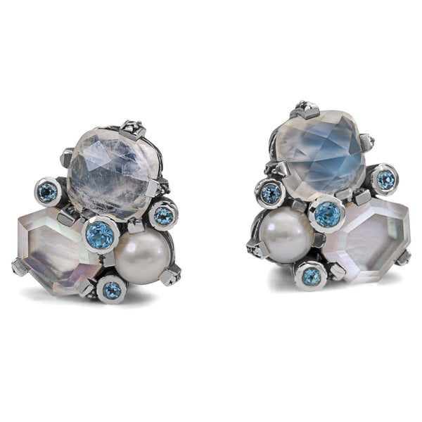 Rainbow Moonstone, Pearl and Swiss Blue Topaz Cluster Earring - Stephen Dweck Jewelry