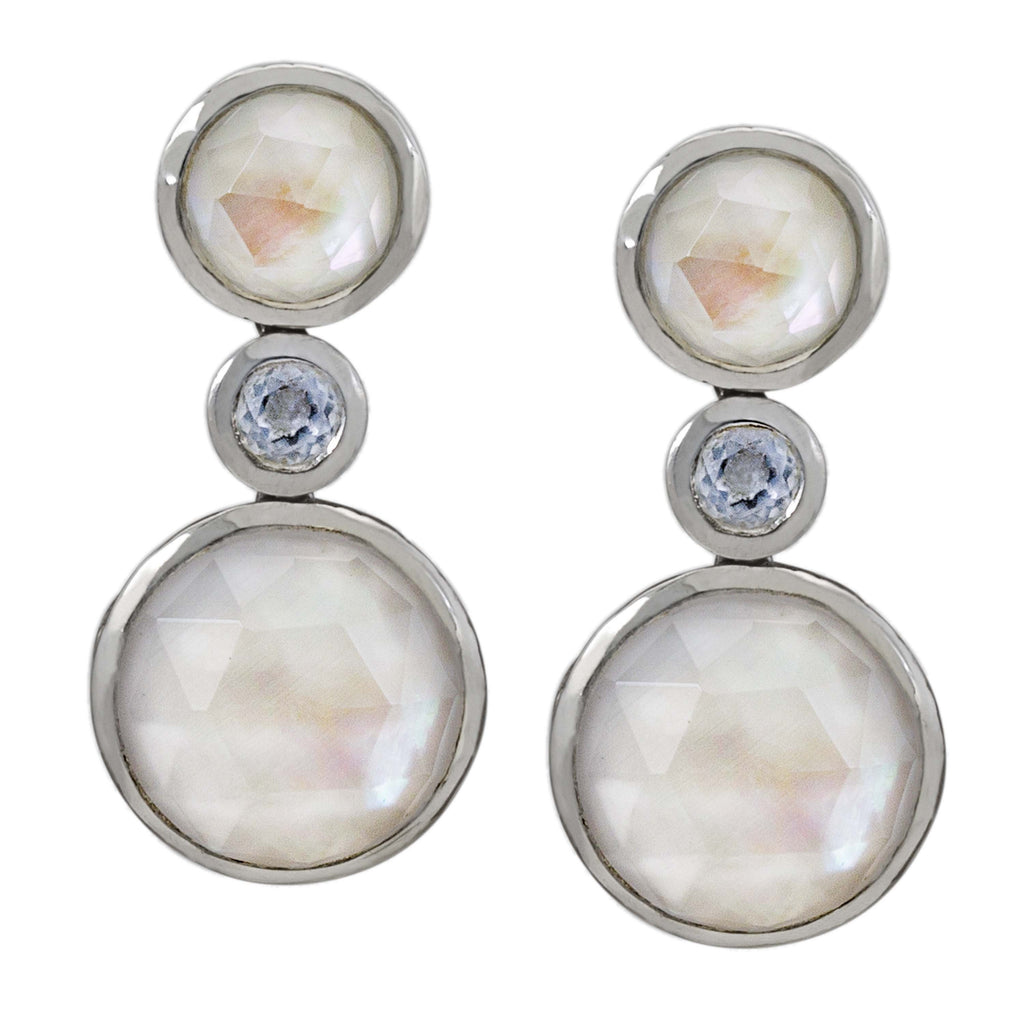 Crystal Quartz, Mother-of-Pearl and White Agate Drop Earring