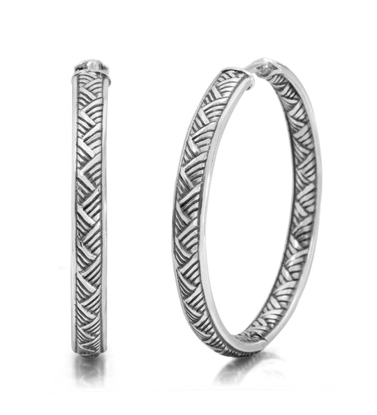 EAR-7737: Basket Weave Hoop Earring, 32mm