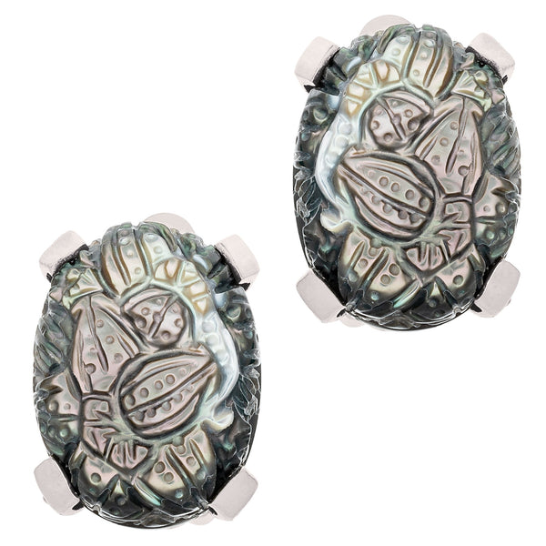 Carved Grey Mother-of-Pearl Earrings - Stephen Dweck Jewelry