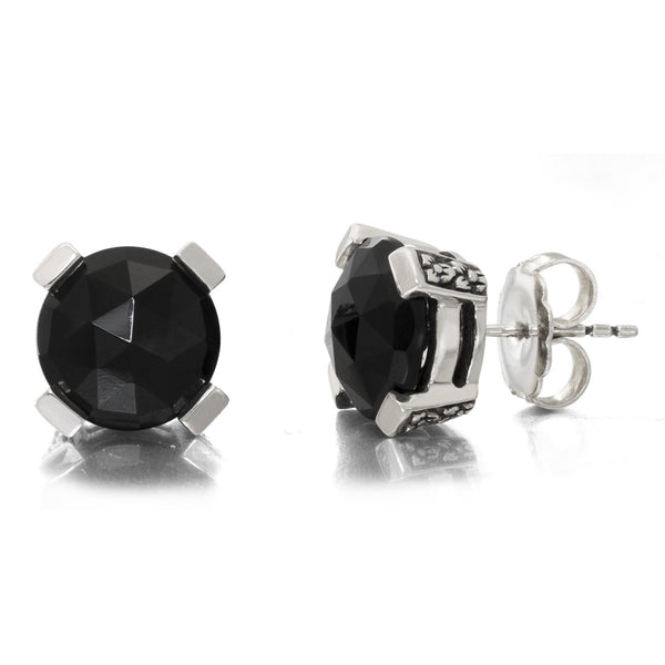 2-EAR-7196: Black Agate Stud Earring, 12 mm