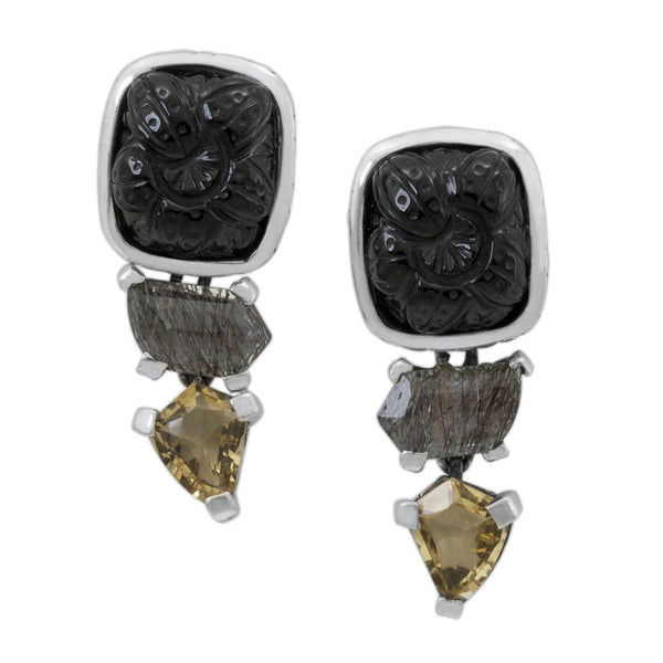 Carved Black Onyx, Black Rutilated Quartz and Citrine Drop Earring