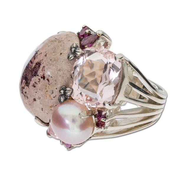OAK-37119: Mexican Fire Opal, Pink Pearl, Rose Quartz, Sapphire and Garnet Cluster Ring