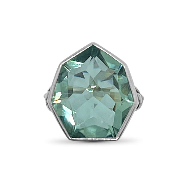 Large Freeform Green Amethyst set in Floral Engraved Sterling Silver Ring