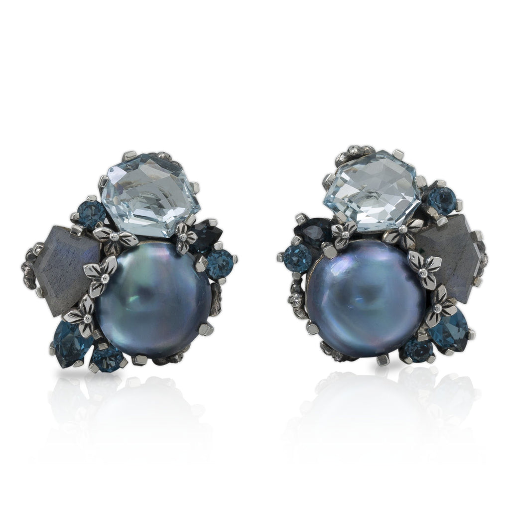 EAR-7815 Sterling Silver Engraved Flower Cluster Earrings with Light Blue Topaz, Sky Blue Topaz, Blue Labradorite and Pearl