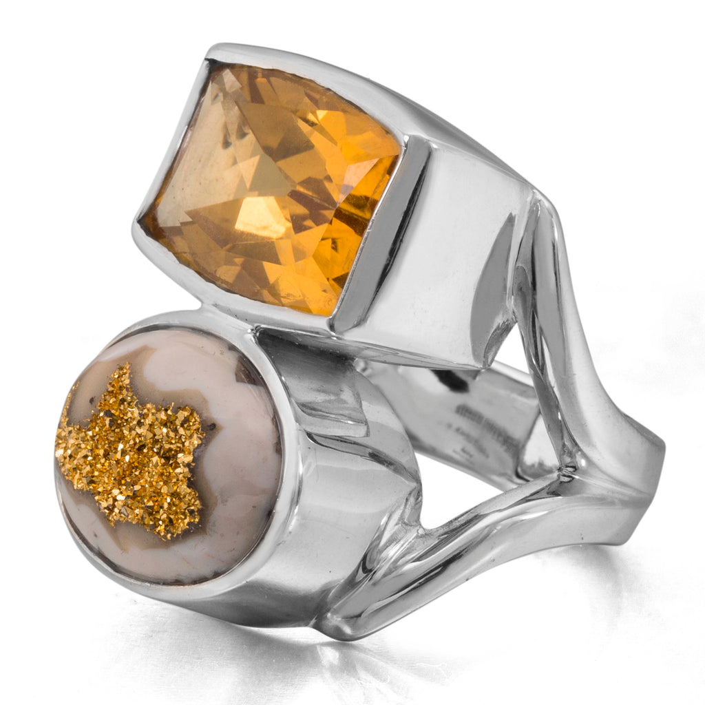 LTD-1009: Citrine and Gold Drusy Hinge Ring