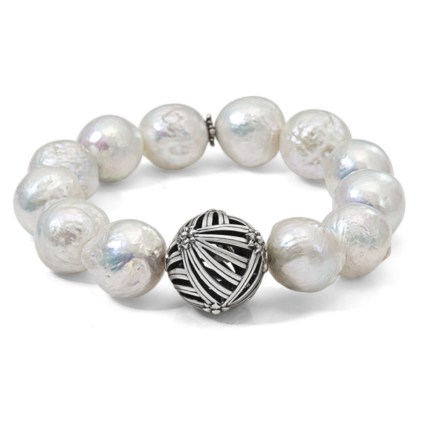White Baroque Pearl Bracelet with Sterling Silver Sunray Details