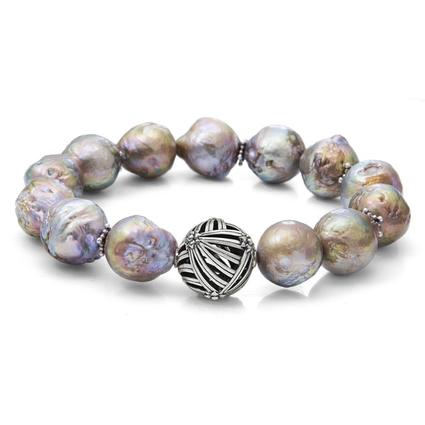 Champagne Baroque Pearl with Sterling Silver Sunray Details