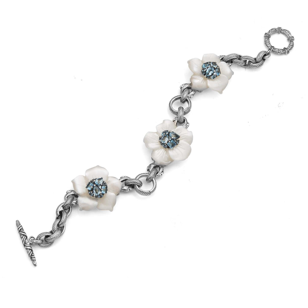 Carved Mother-of-Pearl Flower Bracelet with Swiss Blue Topaz