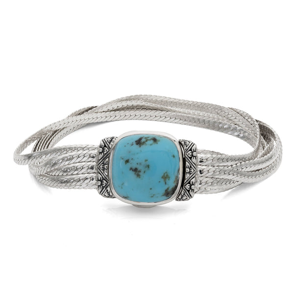 Natural Turquoise Sterling Silver Fluid Chain Bracelet