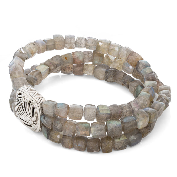 Three Strand Labradorite Bracelet with Sterling Silver Details