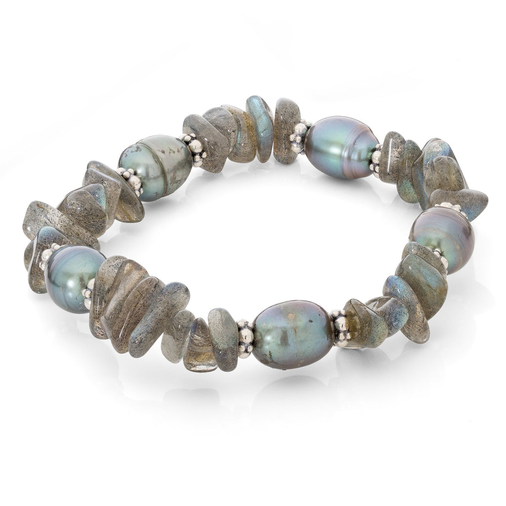 Labradorite and Blue Peacock Pearl Stretch Bracelet - Stephen Dweck Jewelry