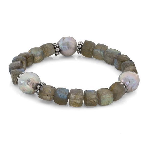 Labradorite and Silver Pearl Stretch Bracelet