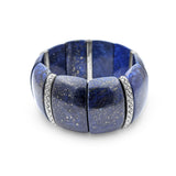 Lapis Cushion Stretch Bracelet with Flower Engraved Sterling Silver Spacers