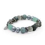 Chrysoprse, Labradorite, Silver and Peacoc Pearls, Aquamarine and Smoky Quartz Stretch Bracelet