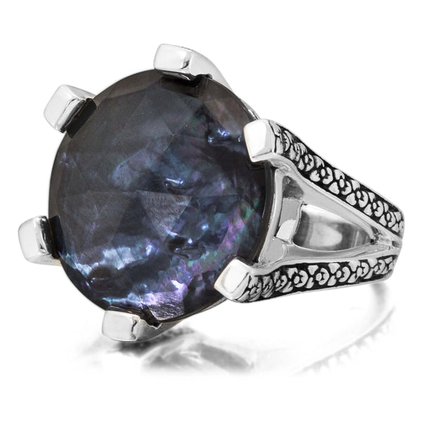 MR-6909: Crystal Quartz, Mother of Pearl, Hematite Flower Engraved Ring