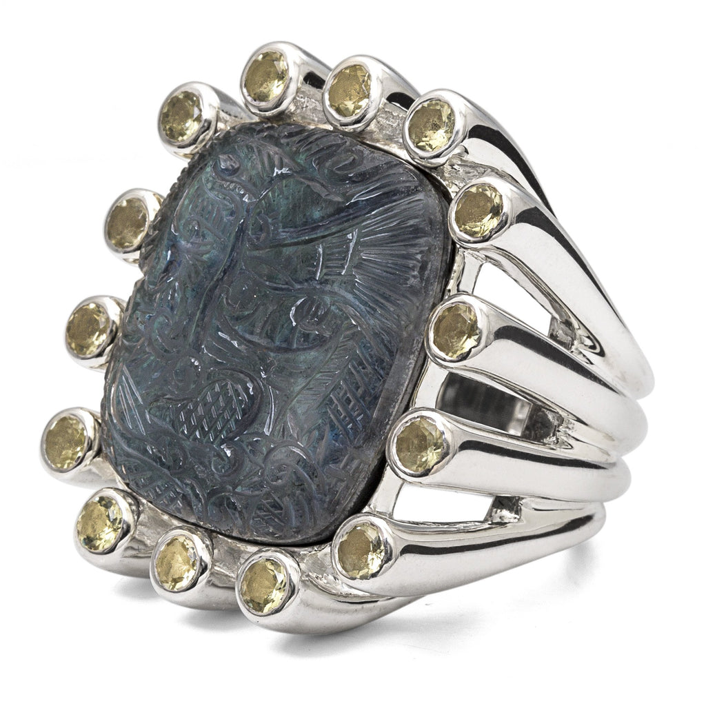 Carved Dragon Labradorite Ring with Lemon Quartz Gemstones