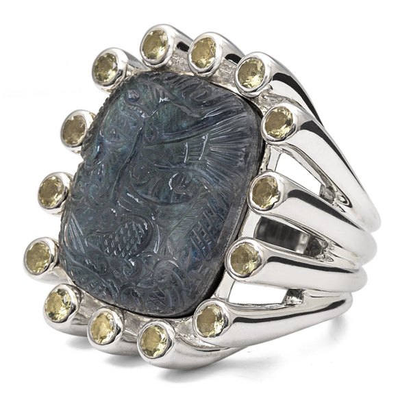 MR-6946: Carved Crystal Quartz, Labradorite Ring with Lemon Quartz