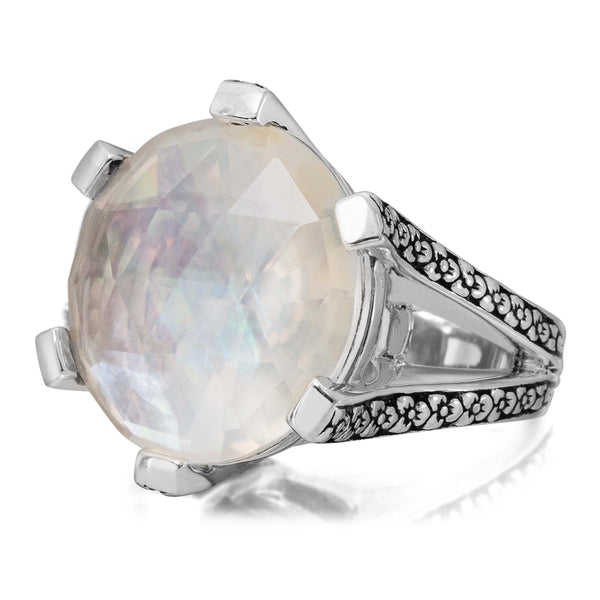 MR-6989: Crystal Quartz and Mother of Pearl Flower Engraved Ring