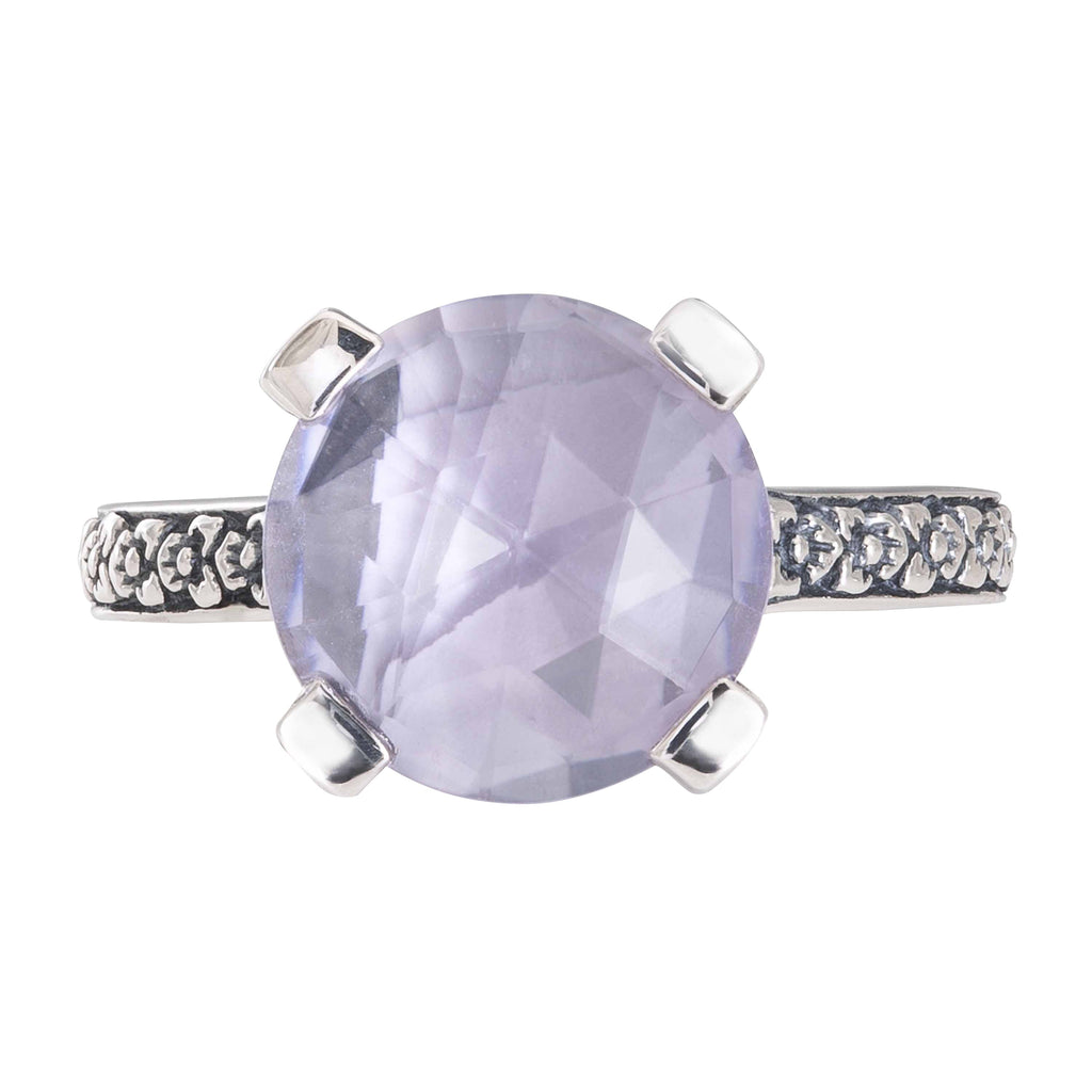 Amethyst Mother-of-Pearl Flower Engraved Ring