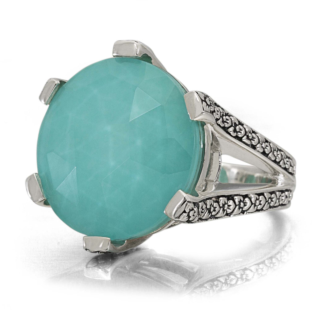 Turquoise Flower Engraved Ring