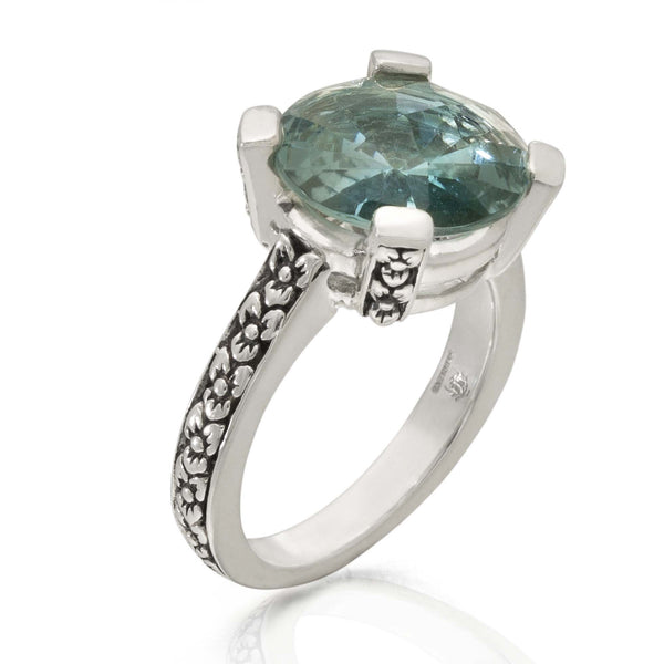 Aqua Quartz Flower Engraved Ring