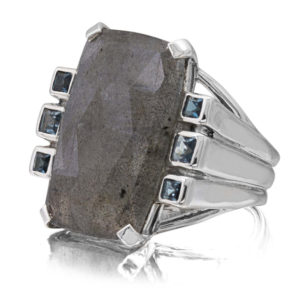 Faceted Labradorite and London Blue Topaz Ring