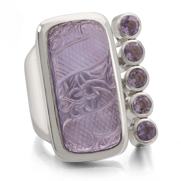 Purple Quartz, Mother-of-Pearl and Amethyst Gemstone Hinge Ring