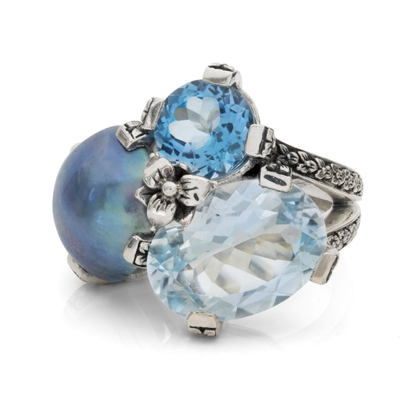 Blue Mabé Pearl, Swiss and Sky Blue Topaz Cluster Ring