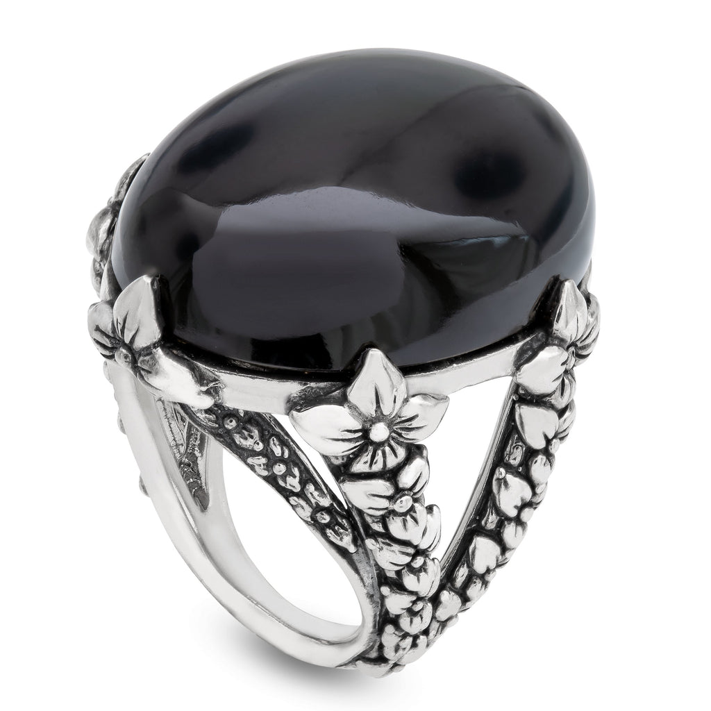Black Agate Gemstone Statement Ring