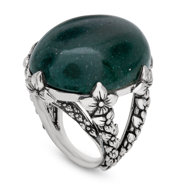 Green Aventurine Gemstone Statement Ring