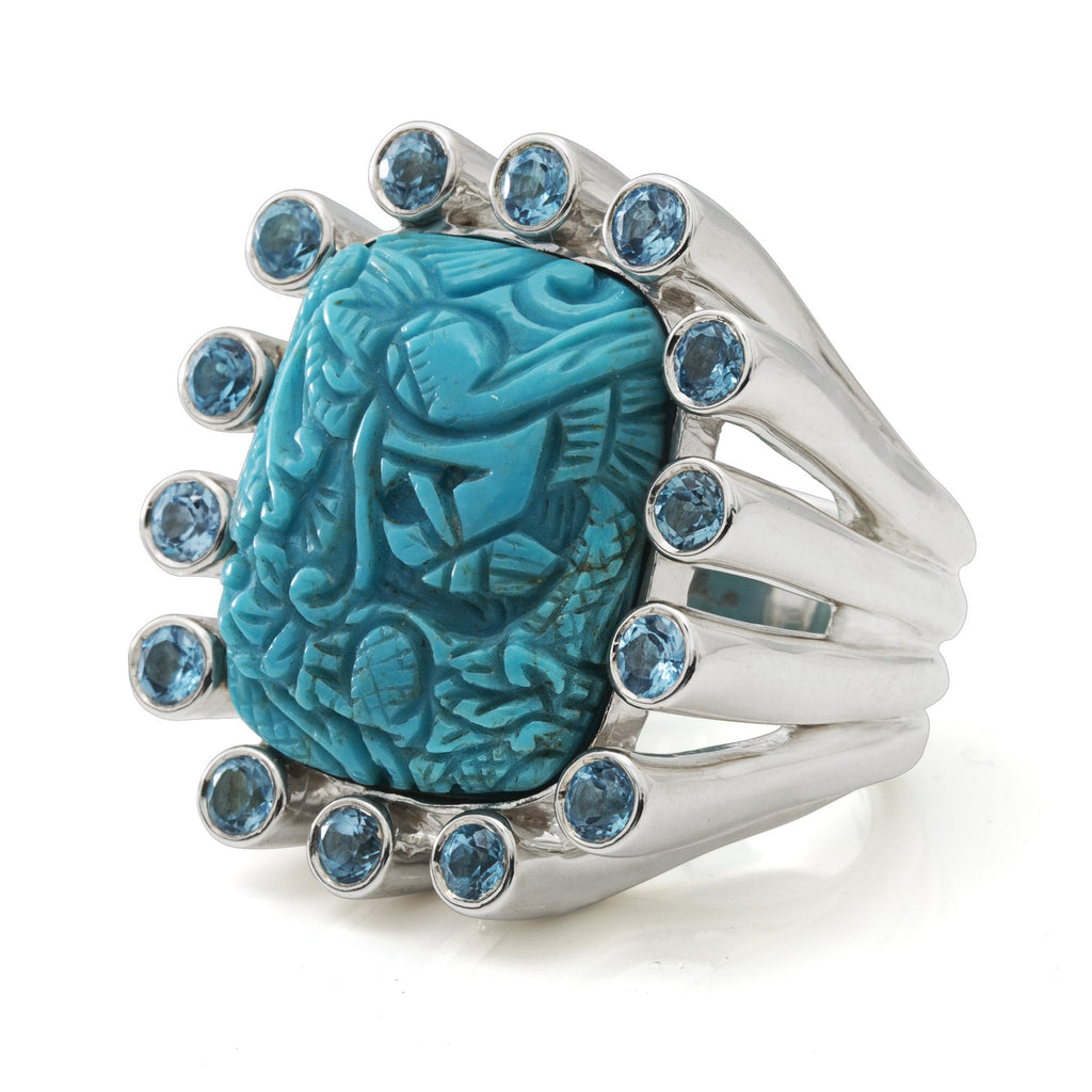 Carved Turquoise Ring with Blue Topaz Gemstones