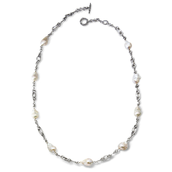 NEW-7510: Small Baroque Pearl Link Necklace, 35""