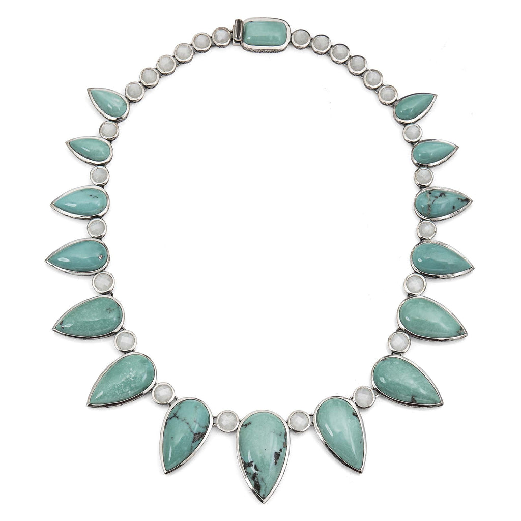 NEW-7700: Turquoise and White Moonstone Necklace