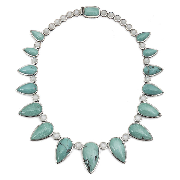 Natural Turquoise and White Moonstone Fan Necklace - Stephen Dweck Jewelry