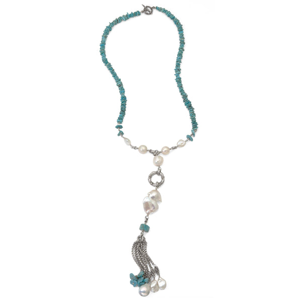 Baroque Pearl and Turquoise Tassel Necklace