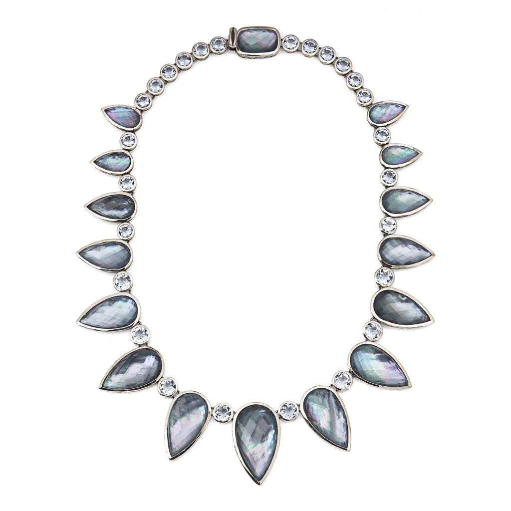 NEW-7710: Mother of Pearl, Hematite, Blue Quartz Necklace