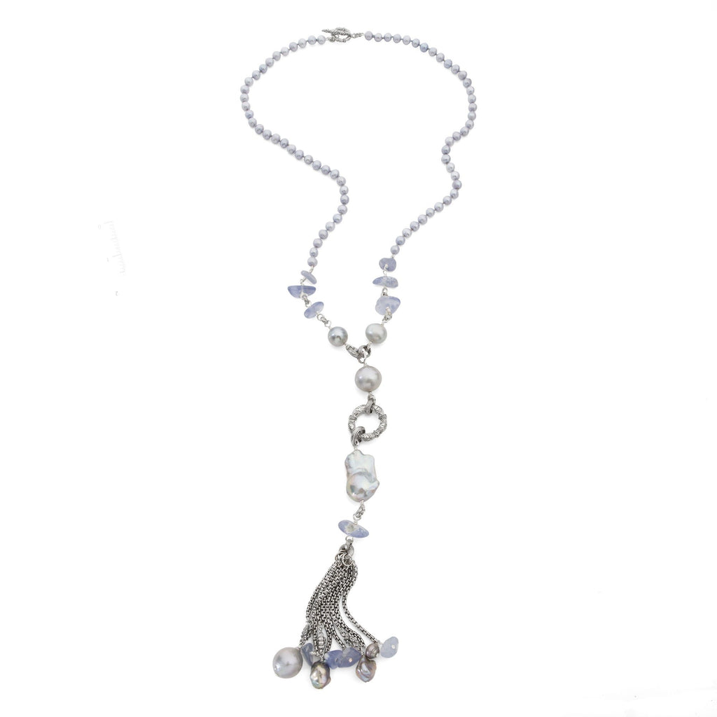 Purple Chalcedony, Silver and Blue Pearl Gemstone Tassel Necklace