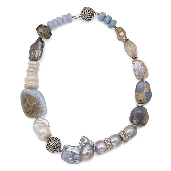 Blue Lace Agate, Purple Chalcedony, Pearls and Quartz Necklace