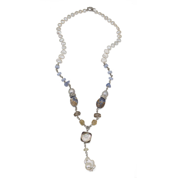 Blue Lace Agate, Purple Chalcedony, Quartz and Baroque Pearl Drop Necklace