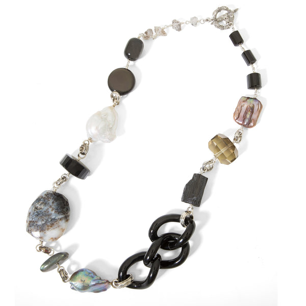 Black Agate Links, Rainbow Obsidian, Labradorite Multi-gemstone Necklace