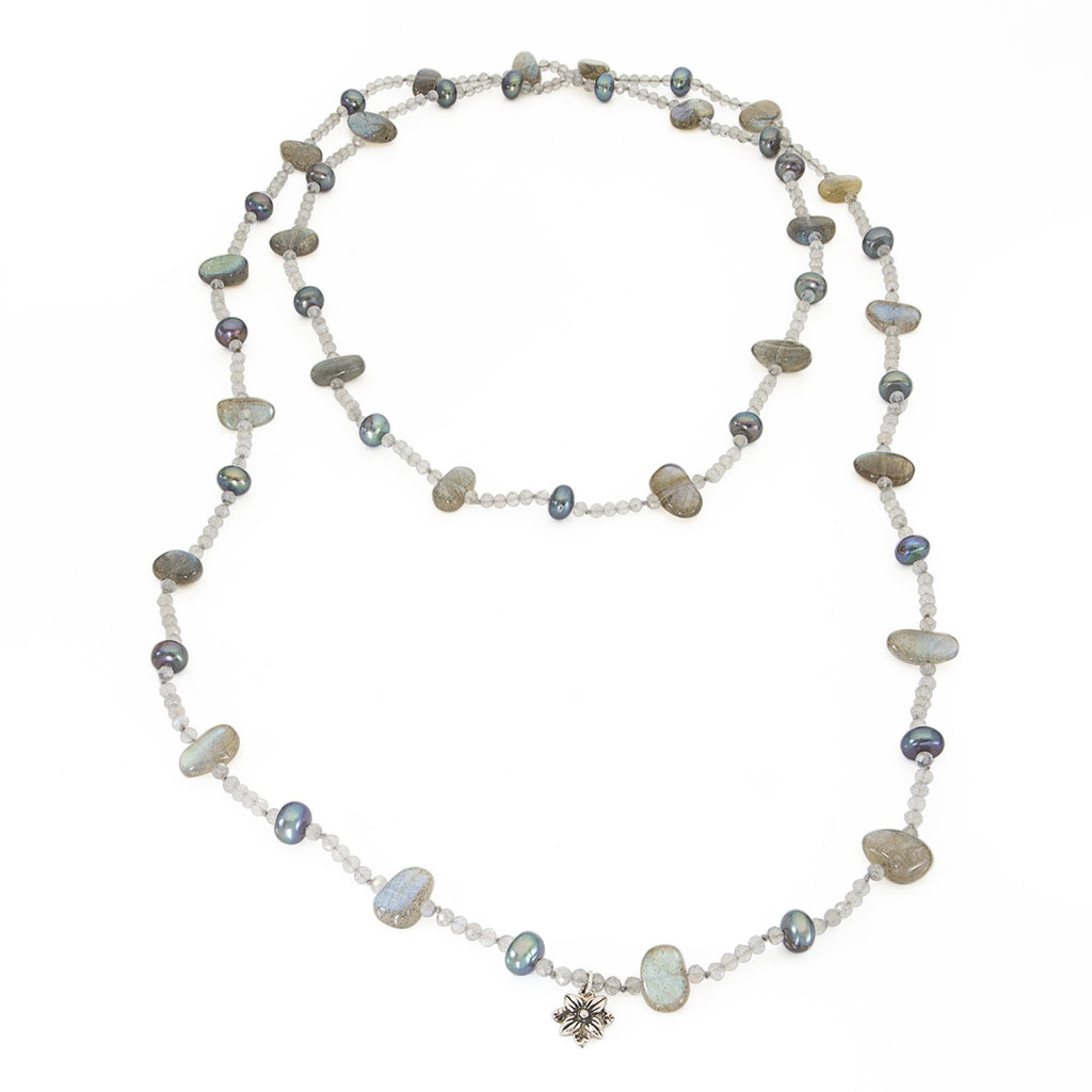 Labradorite and Peacock Pearls Single Strand Necklace - Stephen Dweck Jewelry