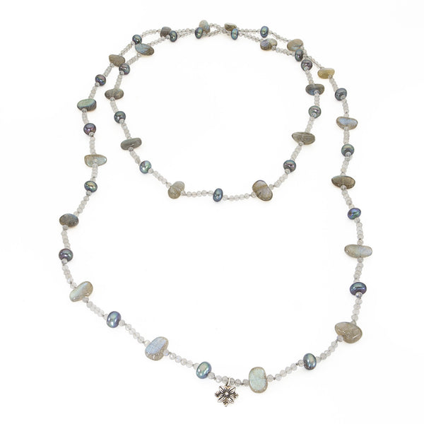 Labradorite and Peacock Pearls Single Strand Necklace