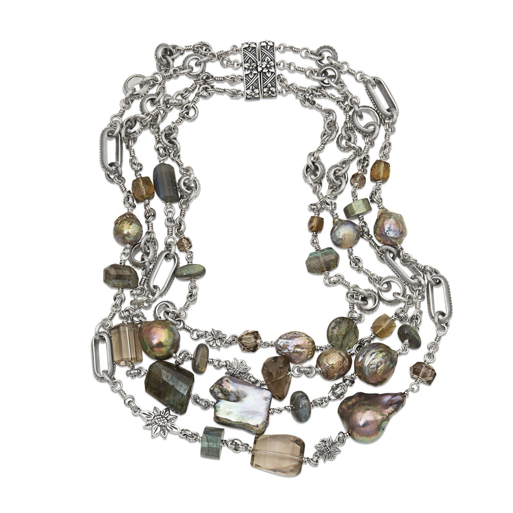 Multi-Strand Colored Pearl and Faceted Gemstone Necklace