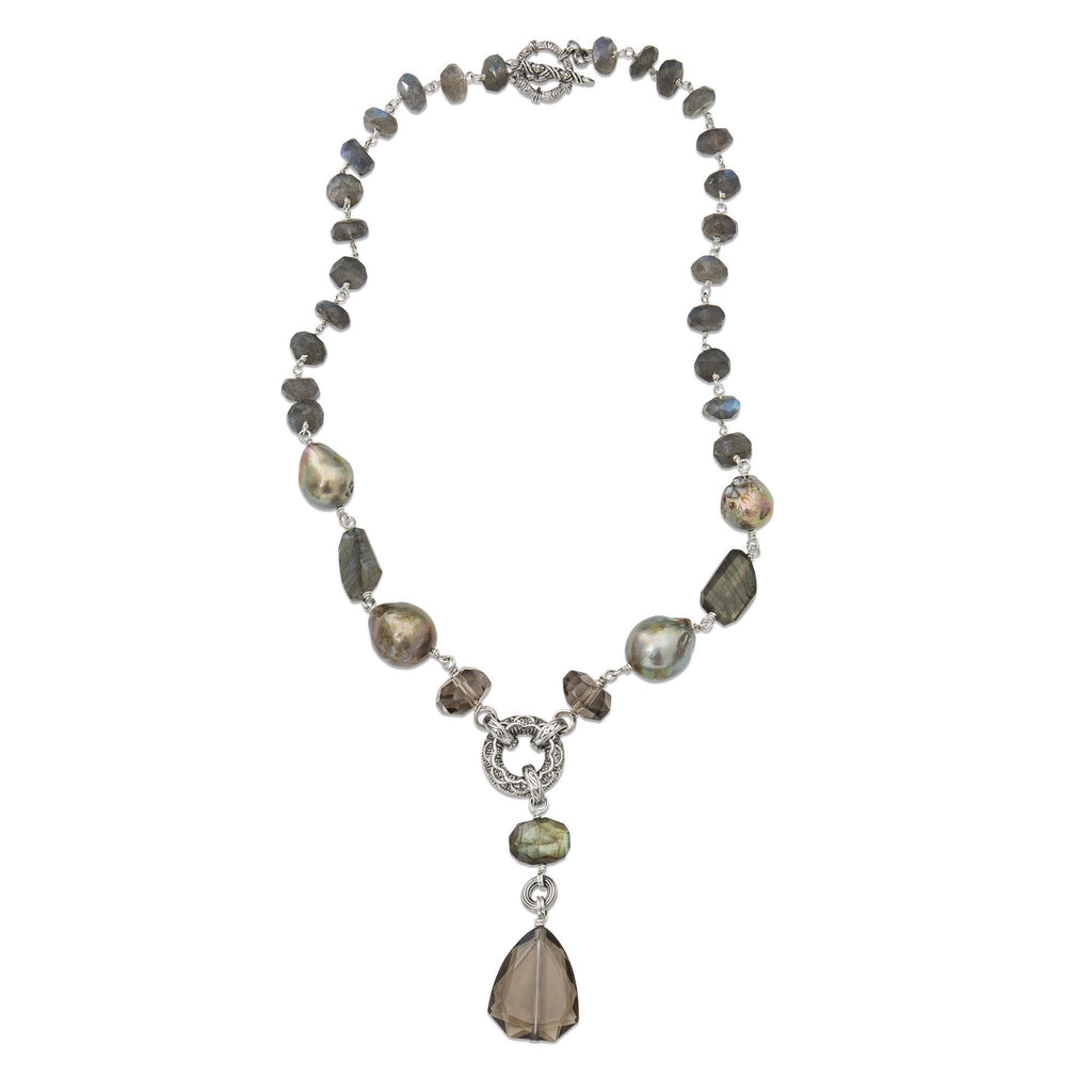 NEW-6936: Labradorite and Baroque Pearl Y-Neck Gemstone Necklace
