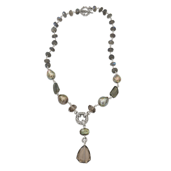 Labradorite and Baroque Pearl Y-Neck Gemstone Necklace