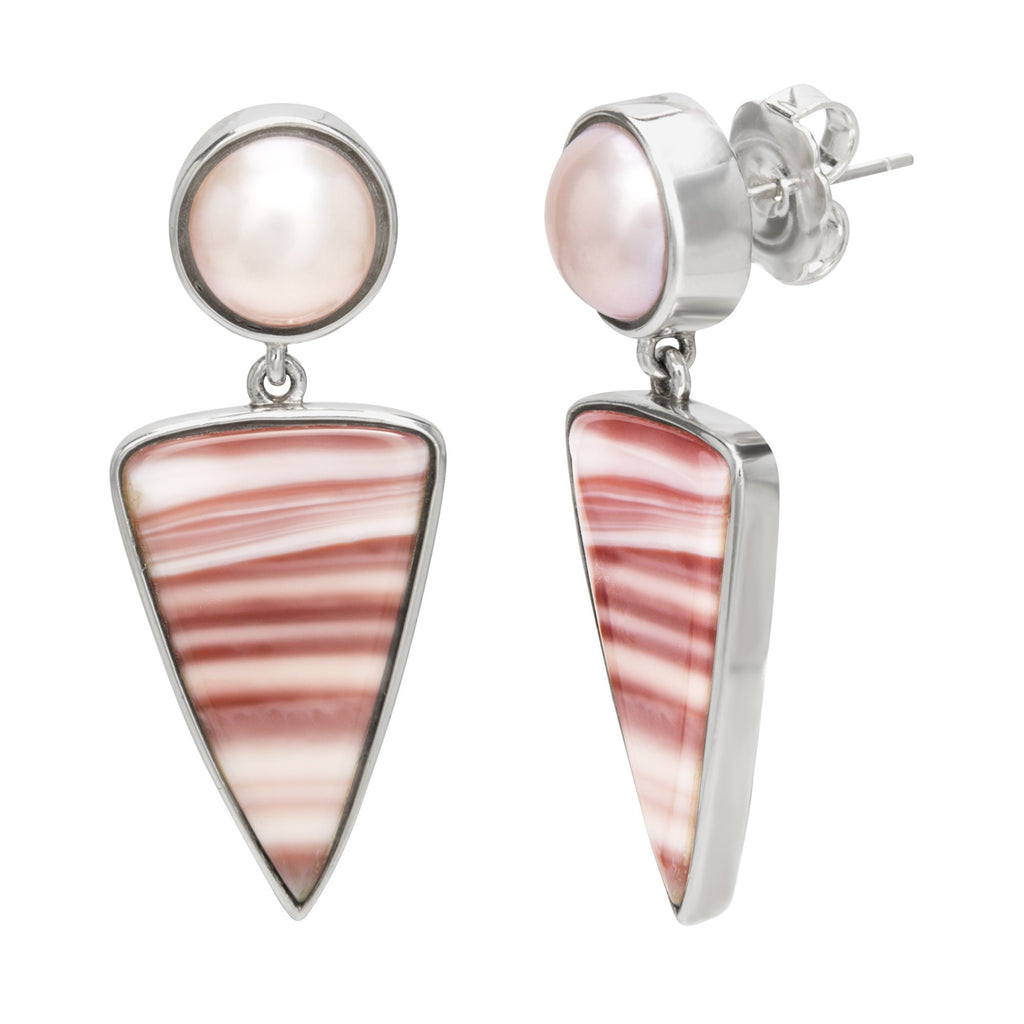 OAK-33286 Sterling Silver Earrings with Mabe Pearl and Jasper Drop