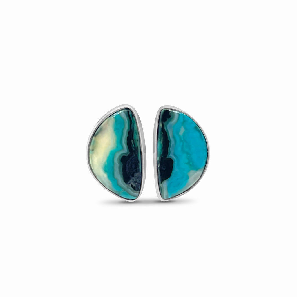 OAK-33396 Aqua Agate Sterling Silver Earrings